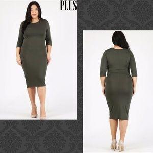 Dresses & Skirts - XL Olive Colored Knee Length Dress